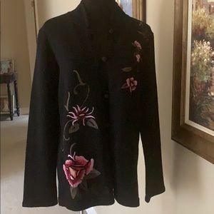 EMBROIDERED WOOL SWEATER JACKET